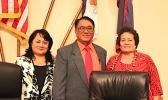Congresswoman Amata with witnesses Tofoitaufa Sandra King Young, head of the local Medicaid office and Faumuina Taufete'e John Faumuina, CEO of LBJ Medical Center at an oversight hearing of the House Natural Resources Subcommittee on Indian, Insular, and Alaska Natives. Its focus: the status of the LBJ hospital.  [Courtesy photo]