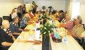 Gov. Lolo Matalasi Moliga and First Lady Cynthia Malala Moliga (head of table), along with lawmakers, senior ASG officials, and Secretary of Samoan Affairs Mauga T. Asuega during an executive lunch at the new Satala Power Plant, after it was dedicated Thursday morning, May 25.  [photo: Leua Aiono Frost]