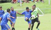 Green Bay player clears the ball against Ilaoa & To'omata during a men's game on Match Day 4 of the 2016 FFAS National League on Saturday, Sept. 10, at Pago Park Soccer Stadium.  [FFAS MEDIA/Brian Vitolio]