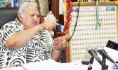 Samoa's Prime Minister Tuilaepa Sailele Malielegaoi during his 2AP radio program at his office.  (Photo JL)