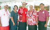 Victor Roosen (third from left) of the American Red Cross Chapter of San Diego, and Vaitoa Hans Langkilde (second from left), chairman of the local Red Cross, along with Etenauga Lutu (second from left), a long-time donor to the Red Cross, and others after yesterday's dedication of the new Red Cross building in Tafuna.  [photo: Leua Aiono Frost]
