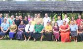 Members of the Samoa Fa'afafine Association with Samoa's Prime Minister, Tuilaepa Sailele Malielegaoi, who is also the Patron and father figure for SFA during Fa'afafine week in Samoa —a first time event.  [Photo: JL]