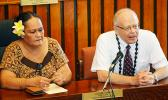 Territorial Bank of American Samoa chief operations officer Makerita T. Polu (left) and TBAS chief executive officer Philip Ware during a House committee hearing yesterday morning.  [photo: AF]