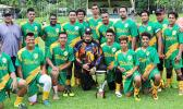 The Utulei Youth men's team with their FFAS National Cup after retaining it in a 1-1 draw with Pago Youth during the men's Cup match of the 2016 FFAS National League's Match Day 4 on Saturday, Sept. 10, at Pago Park Soccer Stadium.  [FFAS MEDIA/Rupeni Luvu]