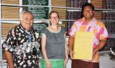 Dr. Unasa Felise Va'a (left) , pictured in a 2012 Pacific Manuscripts Bureau (PAMBU) newsletter along with Kylie Moloney and Avologo Togi Tunupopo, head librarian, at the National University of Samoa Library. He is the keynote speaker of the first Tatau Forum to be held at the ASCC Lecture Hall on Thursday, October 27, from 9:00 to 2:30 P.M.  [photo: National Library of NZ website]