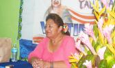 Vaitinasa Salu Hunkin-Finau speaking last Wednesday afternoon during a news conference at her campaign headquarters in Nu'uuli.  [photo: FS]