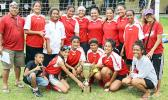The new women's FFAS National Cup holders, the Tafuna Jets, after taking the hardware away from PanSa in a 1-0 win on Match Day 5 of the 2016 FFAS National League on Saturday, Sept. 17, at Pago Park Soccer Stadium. [FFAS MEDIA/Brian Vitolio]