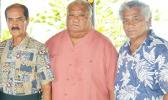 [l-r] Sen. Satele Galu Satele Sr., along with the new Western District Governor, Tuiasina Sosene Esera, and Tuiasina Dr. Salamo Laumoli following a Western District meeting of traditional leaders yesterday morning at Satele's Guest House in Vailoatai. Read Samoan story in today's Lali section. [photo: AF]