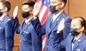 Deon Lesatele Alaimaleata and others being sworn in as Airforce ROTC officers