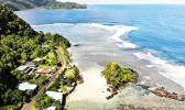 Aerial view of main road in American Samoa