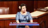Congresswoman Aumua Amata at the podium in Washington D.C.