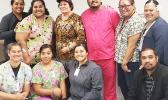Amata with the hardworking LBJ Pharmacy staff. [