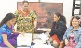 l-r Anita Tuaato, Tamaitai o le Ofisa o le Arts Council, Tiara Fata, ma Stella Filipo