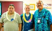 ASCC-ACNR Director Aufa'i Apulu Ropeti Areta (right) gives his well-wishes to two retiring staff members, Network Specialist Albert Siliga (left) and Health Communications Researcher Micah van der Ryn
