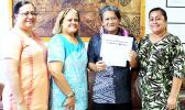 Mr. Eleasalo Sialoi (2nd right)l –r) Vice President of Academic and Student Affairs Mrs. Letupu Moananu, ASCC President Dr. Rosevonne Pato, and Human Resources Director Mrs. Sereima Asifoa.
