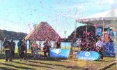 Confetti in the air at the start of Bluesky Communication's birthday bash.