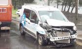 Bluesky van with crumpled fender