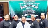 Cervical Cancer Awareness Month banner with LBJ staff standing in front