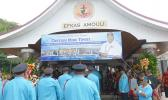 DPS Fire Bureau walk into the Congregational Christian Church of American Samoa in Amouli for a family-service yesterday morning for the late Capt. Mike Asiasiga Olive Tipoti,