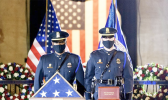 The Capitol Police Force honor guard with flag and ashes