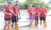 Alo O Samoa club took first place at the first Harbor Classic V6 outrigger race in American Samoa at the Sadie's By the Sea Beach last Friday. Alo O Samoa only had 5 paddlers but was able to take the win with great teamwork effort, according to their captain, who steered their boat.  [Photo: Ese Malala]