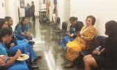 Congresswoman Uifa'atali Amata talking with Close Up students