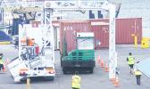 Shipping container in the scanner at Pago Pago harbor