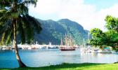 A sailing ship in the harbor at Pago Pago, American Samoa, in 2012.