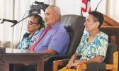 [l-r] Human Resources director Eseneiaso J. Liu; former Administrative Services director Malaepule Lua Moliga; and Education deputy director Fa'auifono Vaitautolu