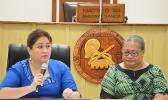 President of the Development Bank of American Samoa (DBAS), Ruth Matagi-Faatili and DBAS Loan Manager, Faaeteete Sio