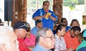 Health Department's Dr. Saipale Fuimaono, who heads the Tafuna Community Health Center, speaking at Saturday cabinet meeting