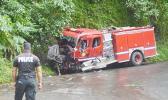 Firetruck that crashed on Afono road.