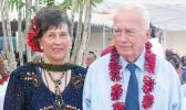 La'auli Alan Grey (R) with his wife Marina (L) at the opening of the Sheraton Aggie Greys in 2016. [Photo: Samoa Observer]