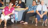 Chief Election Officer, Uiagalelei Dr. Lealaofi Uiagalelei (far right) along with three Election Office personnel, taking a break last Saturday from their work observing the Swains islanders meeting to select their Delegate to the local House of Representatives.  [photo: FS]