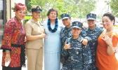 Amata with several Samoan Navy personnel, including (far left) Lolo Rosemary Chamberlain.