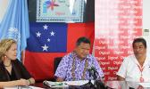 Tackling HIV, STI and TB, in Samoa, United Nations Development Program Lizbeth Cullity, Ministry of Health's Director General, Leausa Dr Take Naseri and Digicel Special Program Manager, Waikato Fatu launched the T3 campaign, Talk it, Test it, Treat it.  [Photo: JL]
