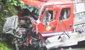 A closeup of the fire truck taken at the scene of the accident on the Afono road where it crashed last Thursday morning, April 30
