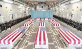 Flag-draped caskets