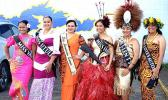 Miss American Samoa Magalita Johnson with the 5 contestants during last Saturday's float parade.