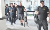 detectives of the DPS Vice & Narcotics / K-9 Units at the Pago Pago International Airport