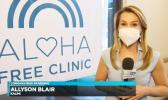 Screenshot from Hawaii News Now of news reporter at Free Clinic