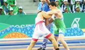 Nolan Puletasi in his bronze medal Match (Photo: Terry Custodio Auva'a)