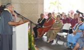 Gov. Lolo Matalasi Moliga during yesterday's official opening of the Territorial Bank of American Samoa. In his remarks he said the solid collaboration, fashioned between the Legislative Branch and the Executive Branch, upon receipt of notification of the exodus of the Bank of Hawaii, facilitated this day.  [photo: AF]