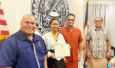 [l-r] The Governor's Chief of Staff, Tuimavave Tauapa'i Laupola; Summer Youth Employment Program participant; Acting Gov. Talauega Eleasalo Ale, and the Governor's Office Chaplain, Patolo Mageo
