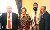 Congresswoman Aumua Amata with the Governor's team in Washington: (l-r) Medicaid director Sandra King Young; Iu Joseph Pereira, executive assistant to Governor Lolo; Alema Leota, counsel to the Governor; Fiu Saelua, chief of staff to the Governor; and Ti'a Patrick Reid