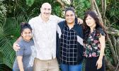 From left, linguistics student Chelsea Pedro, Professor of Linguistics Scott Saft, linguistics and anthropology student Faʻafaleaʻi Siliva, and Associate Professor of Linguistics Yumiko Ohara