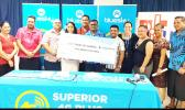 U.T.O.S/BLUESKY: Staff members of U.T.O.S and Bluesky with the $1million cheque.