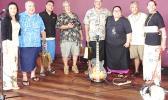 (L-R): Dr. Emilia Le'i- ASCC Dean of Student Services; Vaito'a Hans Langkilde- SJAF Board member; Kuki Tuiasosopo- Chairman, ASCC Fine Arts Department; Tom Scanlan- well known Am. Samoa musician; Rev. Peke Anoa'i- President of the Samoa Musika Foundation; Loretta Tonu-Pua'auli, Instructors, ASCC Fine Arts Instructor; Ulale Ulale- well known American Samoa musician; and Reggie Meredith Fitiao- Artist, ASCC Fine Arts Department.