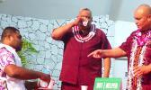 Lt. Gov. Lemanu Sialega Palepoi Mauga taking pills