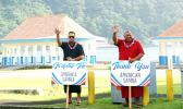 Governor-elect, Lt. Gov. Lemanu Palepoi Sialega Mauga and Lt. governor-elect, Talauega Eleasalo Va'alele Ale waving thank you to voters